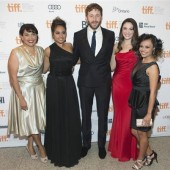 Actors (L-R) Deborah Mailman, Jessica Mauboy, Chris O'Dowd, Shari Sebbens, and Miranda Tapsell, arrives on the red carpet for the gala presentation of the film ''The Sapphires'' at the 37th Toronto In