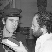 Elton John being interviewed by Mike Greenblatt in 1980.