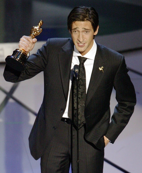 Adrien Brody Holds up Best Actor Oscar in 2003.