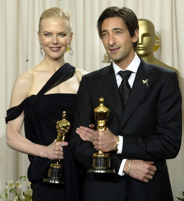 Best Actor and Actress Brody and Kidman Post With Oscars in 2003.