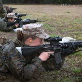 Female Marine recruits at boot camp