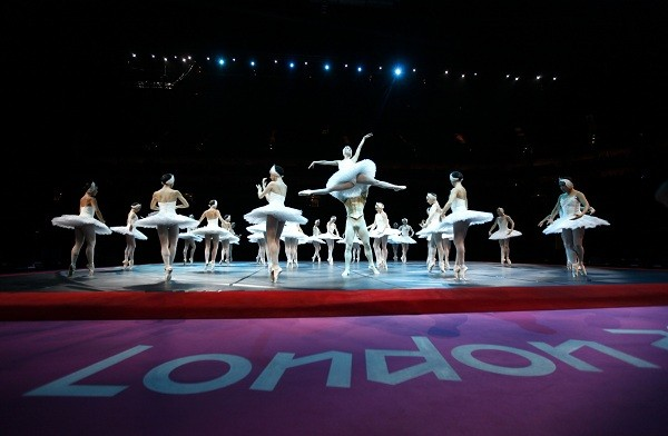 A ballet show is performed before the start of the women's individual all-around gymnastics final in the North Greenwich Arena during the London 2012 Olympic Games.